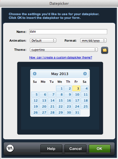 Dreamweaver Date Picker