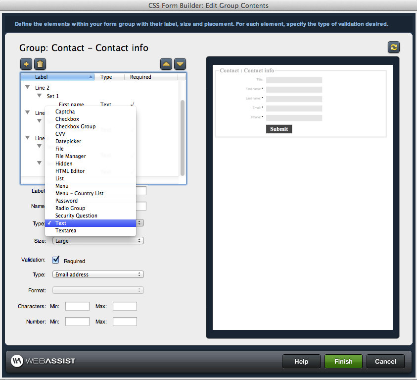Configure form fields