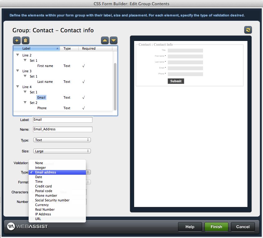 Validating forms in dreamweaver