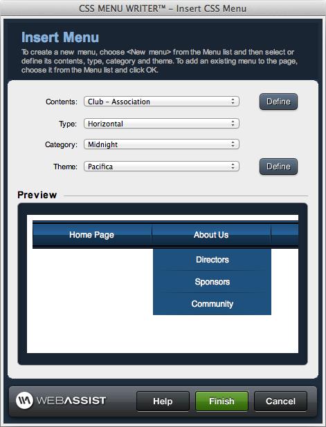 CSS Menu Generator | Dreamweaver extension | WebAssist